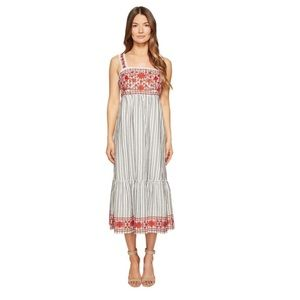NWOT Kate Spade Stripe Embroidered Maxi Dress